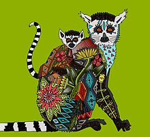 ring tailed lemur love lime by Sharon Turner