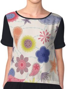 Flowers and paisley pattern vintage Chiffon Top