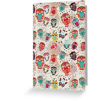 Owls on cream background Greeting Card
