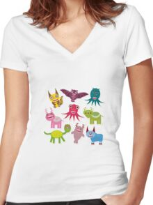 Cartoon monsters Women's Fitted V-Neck T-Shirt