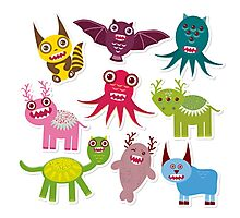Cartoon monsters Photographic Print