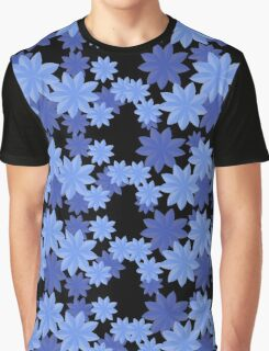 Floral Pattern Japanese Origami Style Blue Graphic T-Shirt