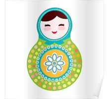 Pink and green matryoshka on black background Poster