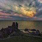 Sunset blast over Dunure Castle by David Alexander Elder