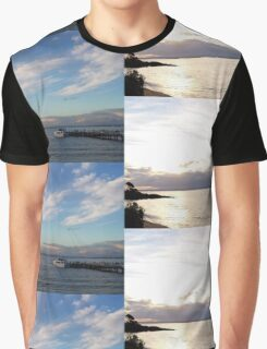 Sunset, Pier and Water Graphic T-Shirt