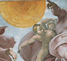 Creation of the Sun and Moon, Detail of the Sistine Chapel by Bridgeman Art Library