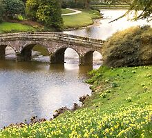 STOURHEAD BRIDGE IN SPRING by Michael Carter