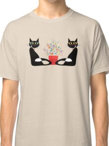 Two Cats With Flowers Classic T-Shirt