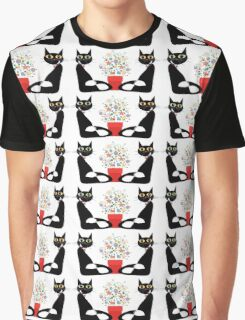Two Cats With Flowers Graphic T-Shirt