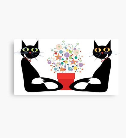 Two Cats With Flowers Canvas Print