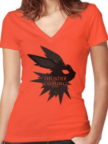 Thunder Is Coming Women's Fitted V-Neck T-Shirt