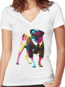 Rainbow Pug Women's Fitted V-Neck T-Shirt