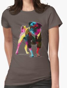 Rainbow Pug Womens Fitted T-Shirt
