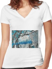 Blue Canyons Colliding Women's Fitted V-Neck T-Shirt