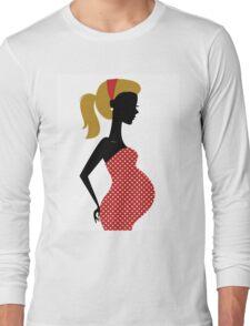 Pregnant woman silhouette Illustration Long Sleeve T-Shirt