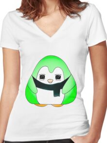 Minty Green Gum Drop Penguin Women's Fitted V-Neck T-Shirt