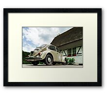 Beautiful retro car renovated with love, style and power Framed Print