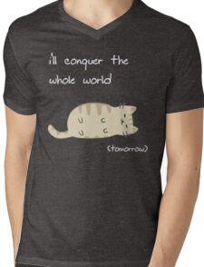 lazy cat  Mens V-Neck T-Shirt