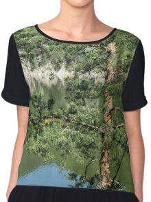 Summer in the Mountains - Forest Lakes and Pine Trees Beauty Chiffon Top