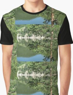 Summer in the Mountains - Forest Lakes and Pine Trees Beauty Graphic T-Shirt
