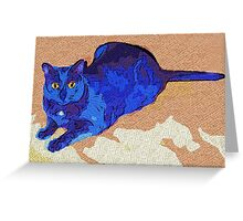 Blue Cat Greeting Card