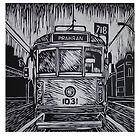 Lino cut print of a Melbourne Tram by Matthew Broughton