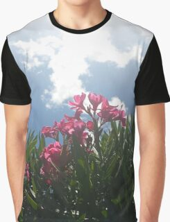 Pink Flowers And Sky Graphic T-Shirt