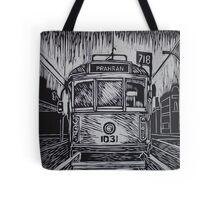 Melbourne Tram linocut print Tote Bag