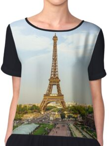 Editorial,13th May 2016:  Paris, France. Eiffel tower sunset view on blue sky background Chiffon Top