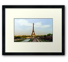 Editorial,13th May 2016:  Paris, France. Eiffel tower sunset view on blue sky background Framed Print