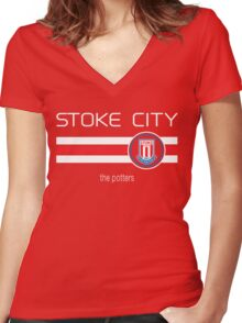EPL 2016 - Football - Stoke City (Home Red) Women's Fitted V-Neck T-Shirt