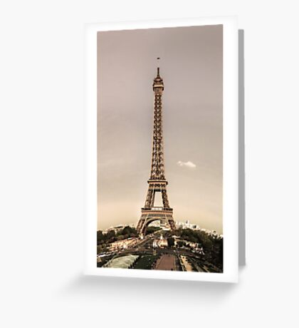 Editorial,13th May 2016:  Paris, France. Eiffel tower sunset view on blue sky background Greeting Card