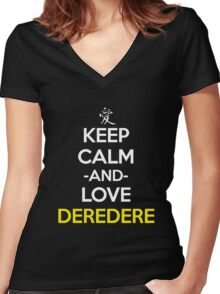 Keep Calm And Love Deredere Anime Manga Shirt Women's Fitted V-Neck T-Shirt