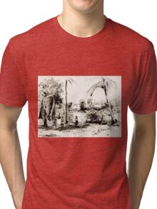 Artists at Work by the Johnstone River, Innisfail FNQ Tri-blend T-Shirt
