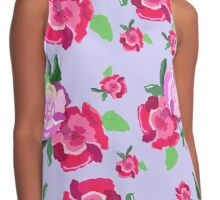Peonies on a blue background pattern Contrast Tank