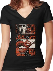 Howard Philips Lovecraft Halloween Women's Fitted V-Neck T-Shirt