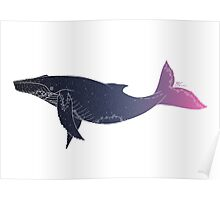 Sky Whale (white lines) (horizontal) Poster