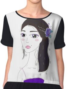 Beautiful Original illustration of Slavic Girl with Black Hair Chiffon Top
