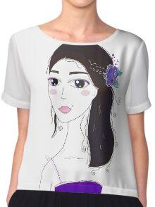 Beautiful Original illustration of Slavic Girl with Black Hair Chiffon Top