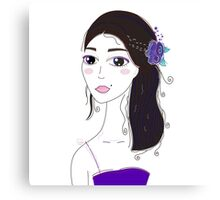 Beautiful Original illustration of Slavic Girl with Black Hair Canvas Print