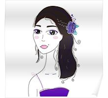 Beautiful Original illustration of Slavic Girl with Black Hair Poster