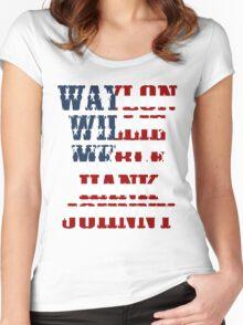 Waylon Jennings Willie Nelson Merle Haggard Hank Williams Johnny Cash  Women's Fitted Scoop T-Shirt