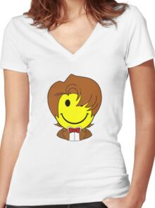 Happy Dr. Who Face Women's Fitted V-Neck T-Shirt