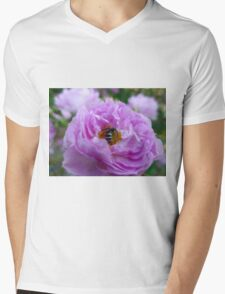 Pink Shrub Rose with Insect Mens V-Neck T-Shirt