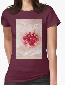 Vintage Peony Womens Fitted T-Shirt