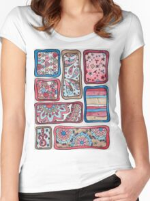 Paisley Blocks Red Women's Fitted Scoop T-Shirt