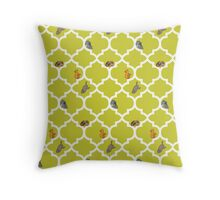 Cats On A Lattice - Yellow Throw Pillow