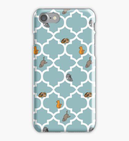Cats On A Lattice - Blue iPhone Case/Skin