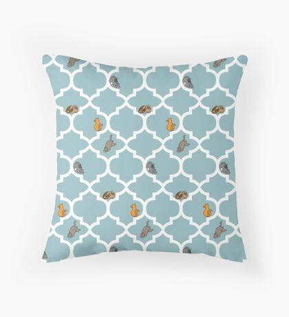 Cats On A Lattice - Blue Throw Pillow
