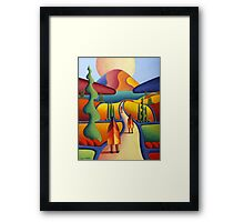 pilgrimage to the sacred mountain with 3 figures Framed Print